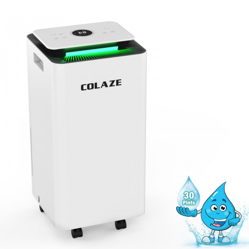 1800 Sq. Ft Dehumidifier for Home and Basements, COLAZE 30Pints Dehumidifiers with Auto or Manual Drainage with Drain Hose, 0.66 Gallon Water Tank, Auto Deforest, Dry Clothes Function