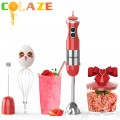 【5-in-1】800W Immersion Hand Blender for Sauces, Smoothies, Soups (Red)