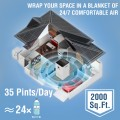 COLAZE 35 Pints 2000 Sq. Ft Dehumidifier with 6.56 ft Drain Hose, Three Colors Humidity Indicator, 24hr Timer Auto-off, Auto Defrost, Drying Clothes Dehumidifier Ideal for Home, Bathroom and Basement