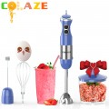 【5-in-1】800W Immersion Hand Blender for Sauces, Smoothies, Soups (Blue)
